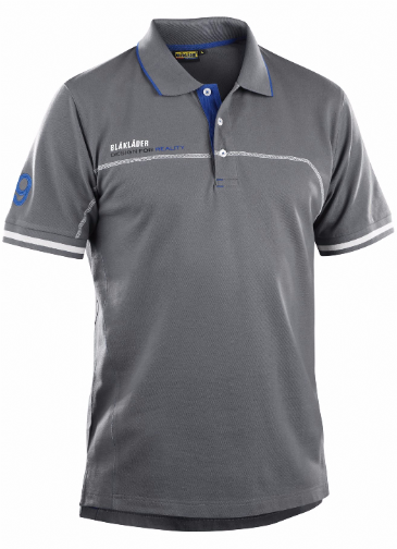 Blaklader 3327 Branded Polo Shirt (Grey/Cornflower Blue)